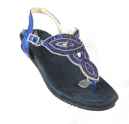 Donna Fabiani stylowe skórzane klapki KG15 BLUE KOBALT