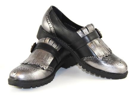 Robson półbuty damskie 7051 czarno srebrne