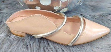 Tuffoni włoskie skórzane sandały Nude 1620006LL
