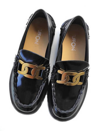 Włoskie mokasyny Loufer Black 1221009LL Tuffoni