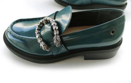Włoskie mokasyny Loufer Turquoise 1221010LL Tuffoni