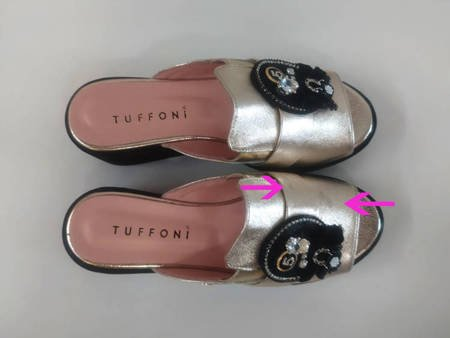 Włoskie skórzane złote klapki na platformie  Tuffoni 2 Gatunek